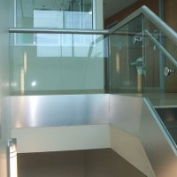 Aluminum and glass balcony railing for Chesterfield Medical Institute