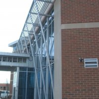 Painted aluminum tubing fabrications support a sun screen at Chesterfield Medical Institute 2