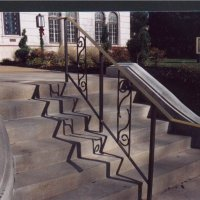 Black painted steel railing with bronze top rail 2