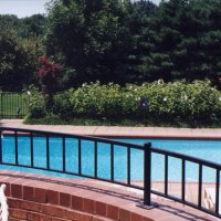 Black powder coated steel deck rail at pool 2 -41112151617