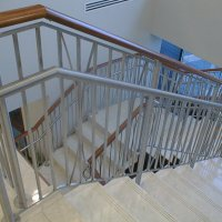 Brush finish stainless steel railing at Merrill Lynch offices in Clayton