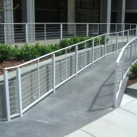 White painted aluminum railing with stainless steel cable infill 7